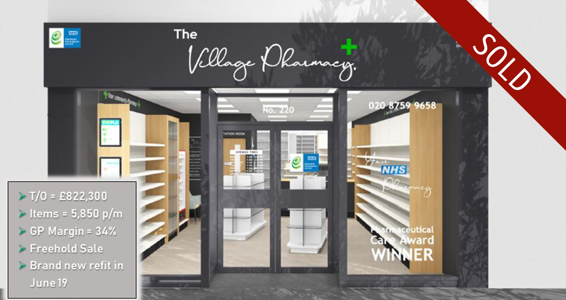 Village pharmacy sold within 3.5 months